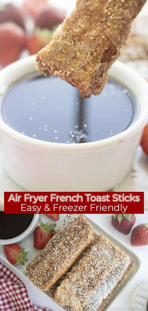 Long pin collage banner text Air Fryer French Toast Sticks Easy & Freezer Friendly