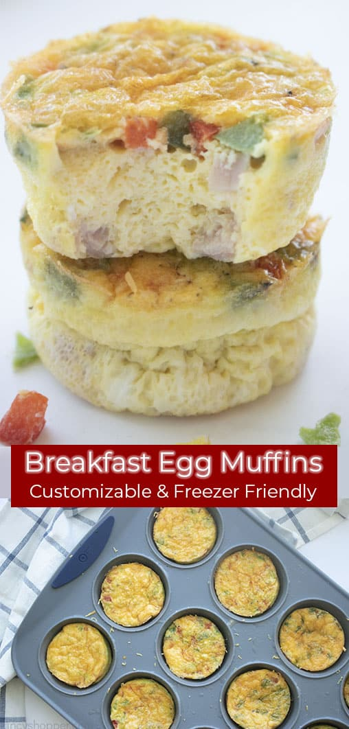 Long pin collage text banner Breakfast Egg Muffins Customizable & Freezer Friendly.