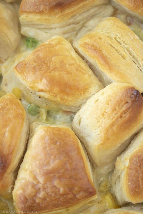 Closeup of chicken & biscuits