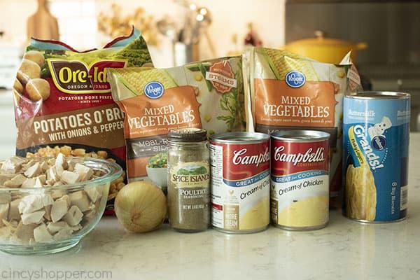 Ingredients for chicken casserole