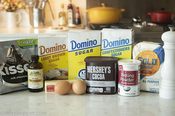 Ingredients for chocolate thumbprint cookies