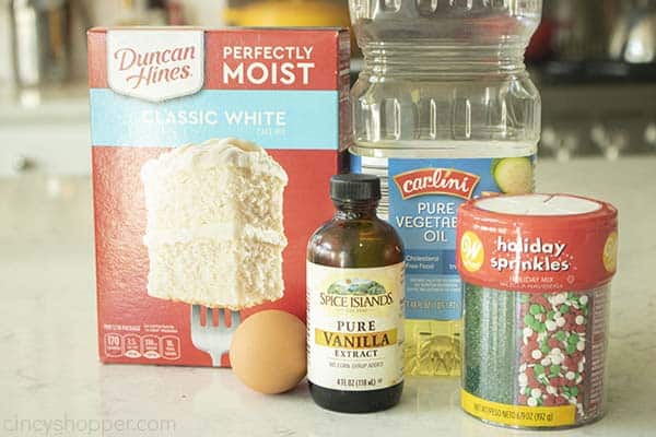 Ingredients for Christmas Cookies with Cake Mix