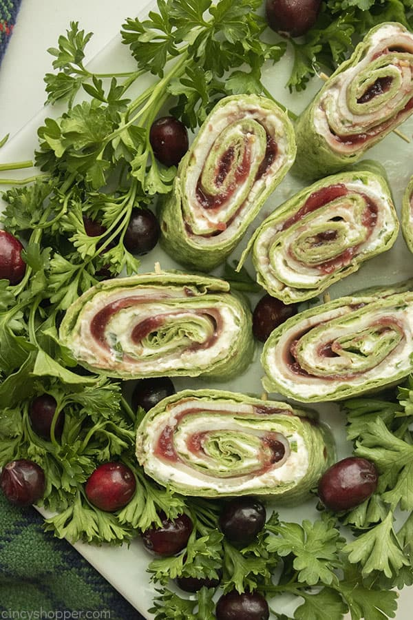 Turkey rollups for appetizer on a platter