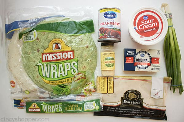 Ingredients for tortilla rollups