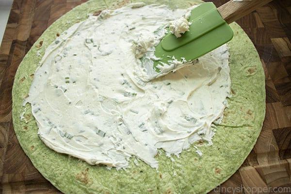 Spread on green tortilla