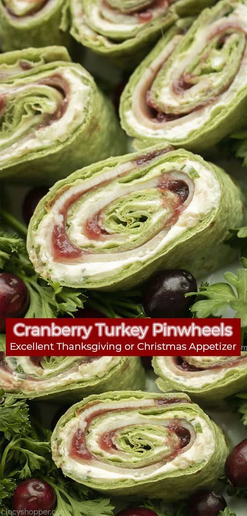 Long pin collage with text banner Cranberry Turkey Pinwheels Excellent Thanksgiving and Christmas Appetizer