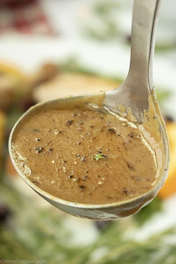From scratch turkey gravy in ladle