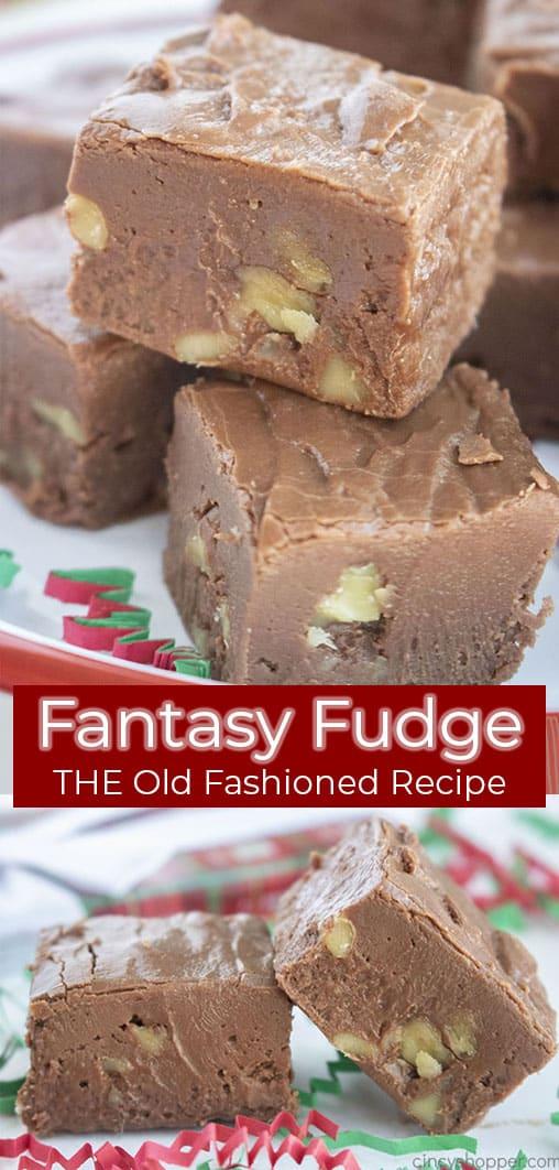 Lange Stiftcollage mit Text Fantasy Fudge DAS ALTE Rezept