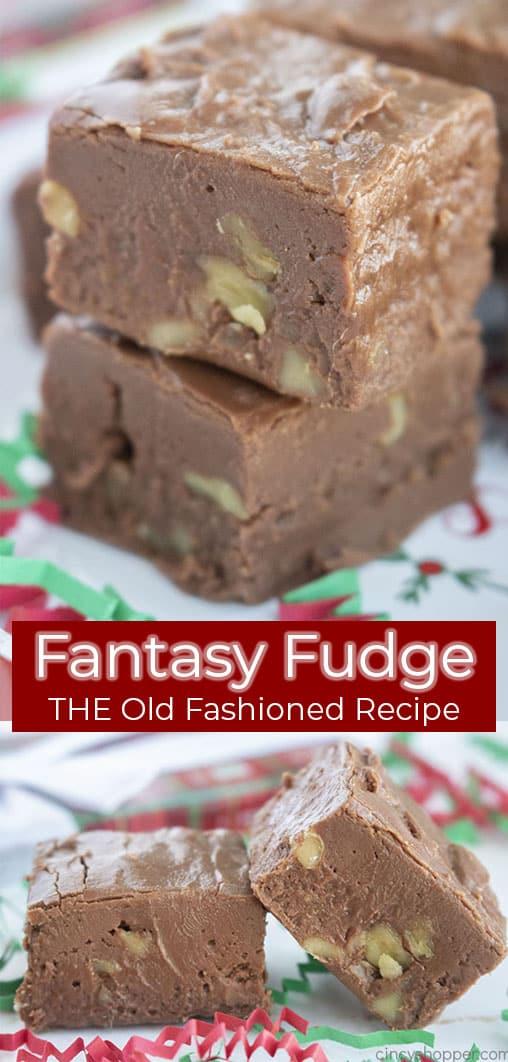 Lange Nadelcollage mit Text Fantasy Fudge DAS ALTE Rezept