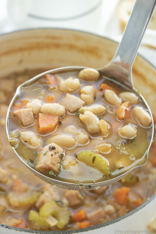 Bean soup on a ladle