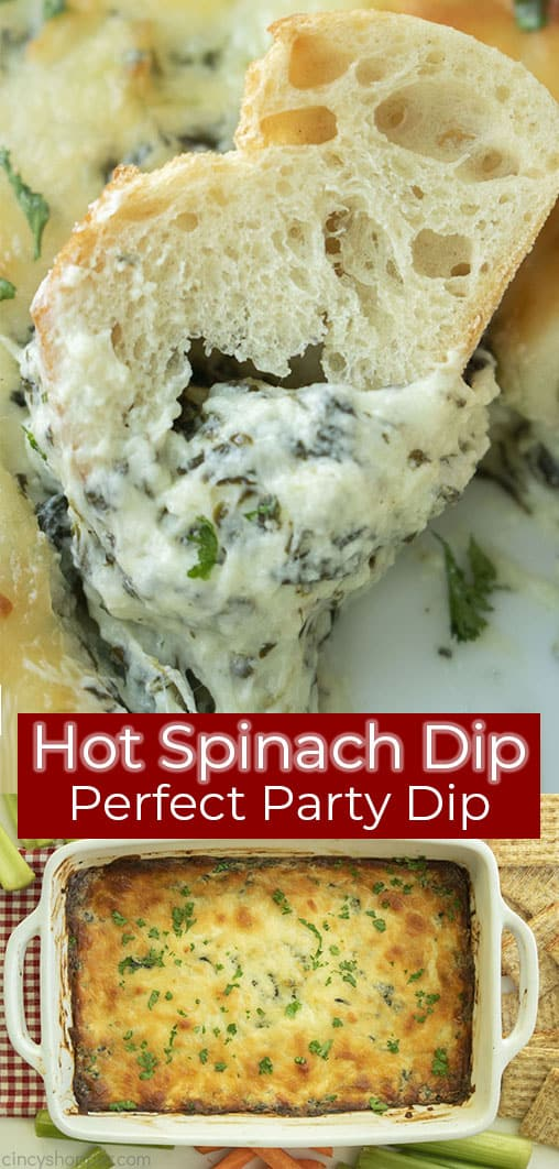 Long pin collage with text on image Hot Spinach Dip Perfect Party Dip