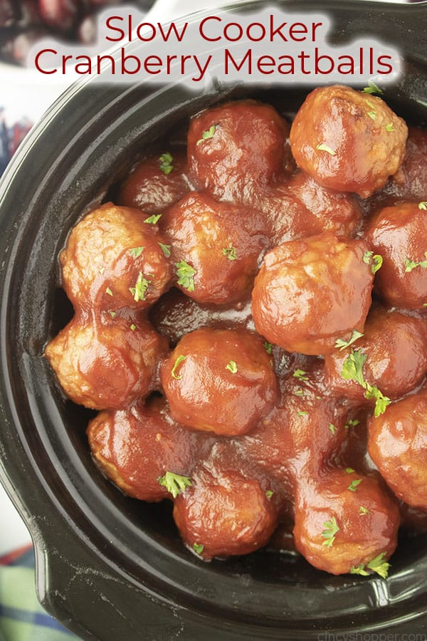 Text on image Slow Cooker Cranberry Meatballs