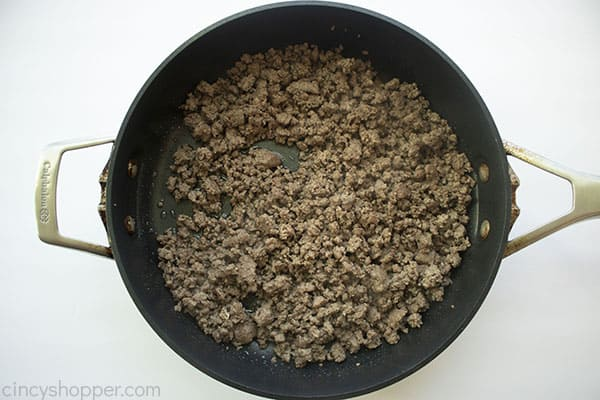 Ground beef cooked in a pan