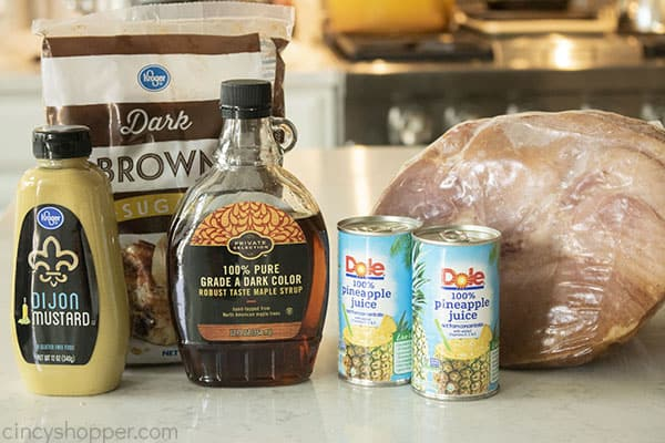 Ingredients to make Slow Cooker Ham