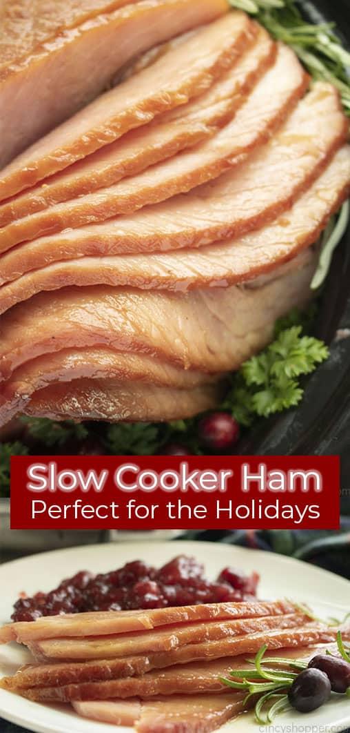 Lange Stiftcollage mit Text auf Bild Slow Cooker Ham Perfekt für die Feiertage