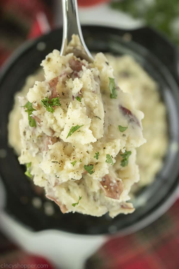 Slow Cooker Garlic Mashed Potatoes on a spoon