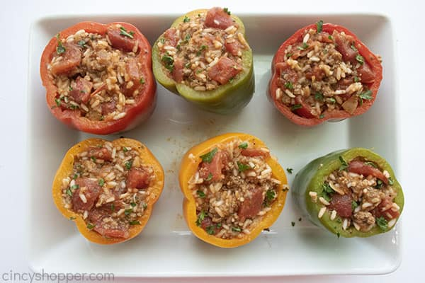 Filling added to peppers