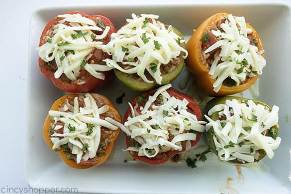 Cheese added to cooked peppers