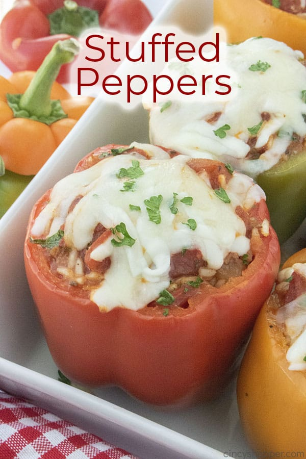 Text on image Stuffed Peppers