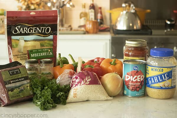 Ingredients to make Stuffed Peppers