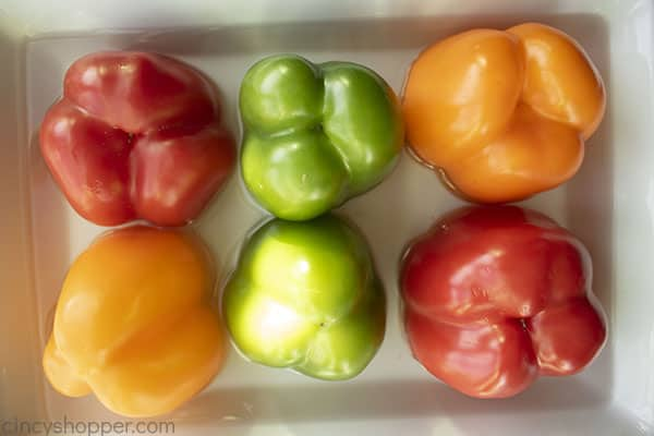 Peppers placed in dish with water