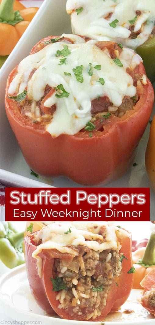Long pin collage Stuffed Peppers Easy Weeknight Dinner