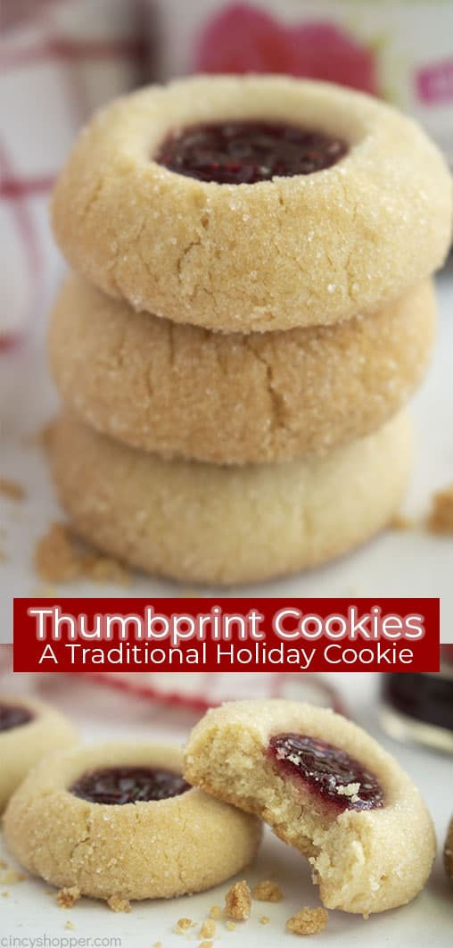 Long pin collage with banner text Thumbprint Cookies A Traditional Holiday Cookie