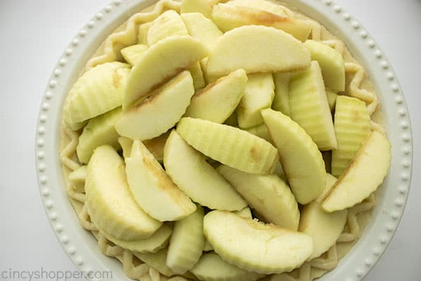 Apples added to pie crust
