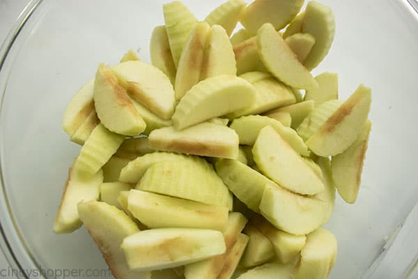 Apples peeled cored and sliced