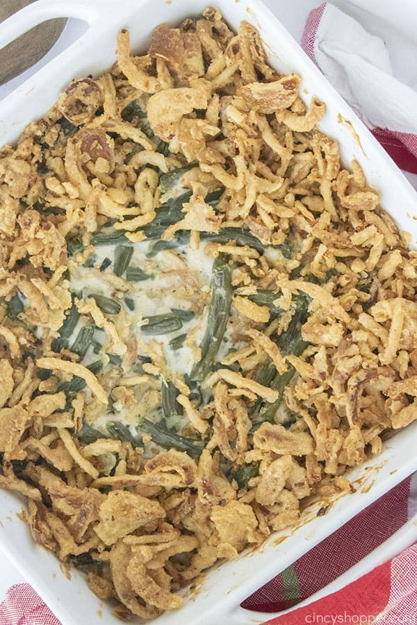 Traditional Green Bean Casserole in a dish