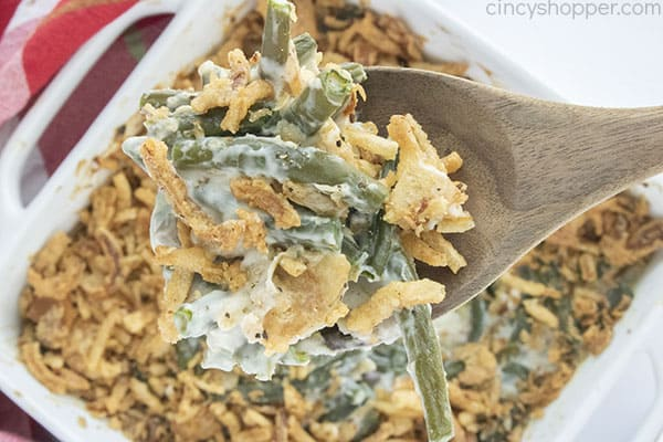 Spoon with Classic Thanksgiving Green Bean Casserole