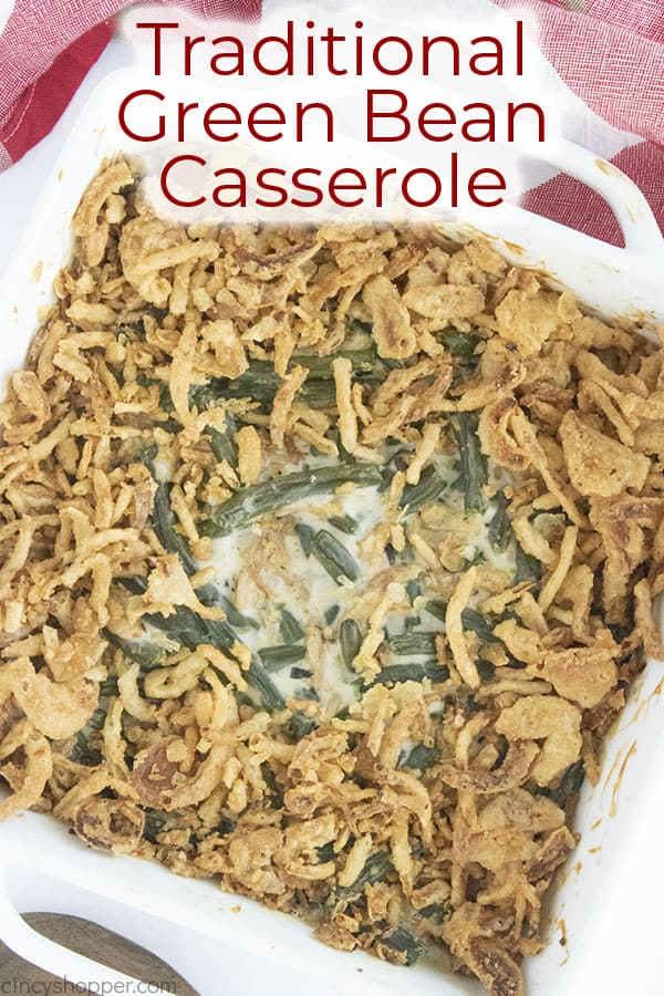 Text on image Traditional Green Bean Casserole