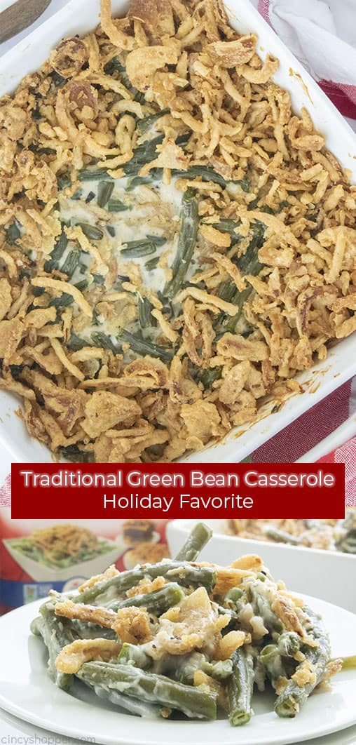 Long pin collage with text Traditional Green Bean Casserole Holiday Favorite