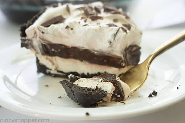 Slice of no bake chocolate cream pie with a fork
