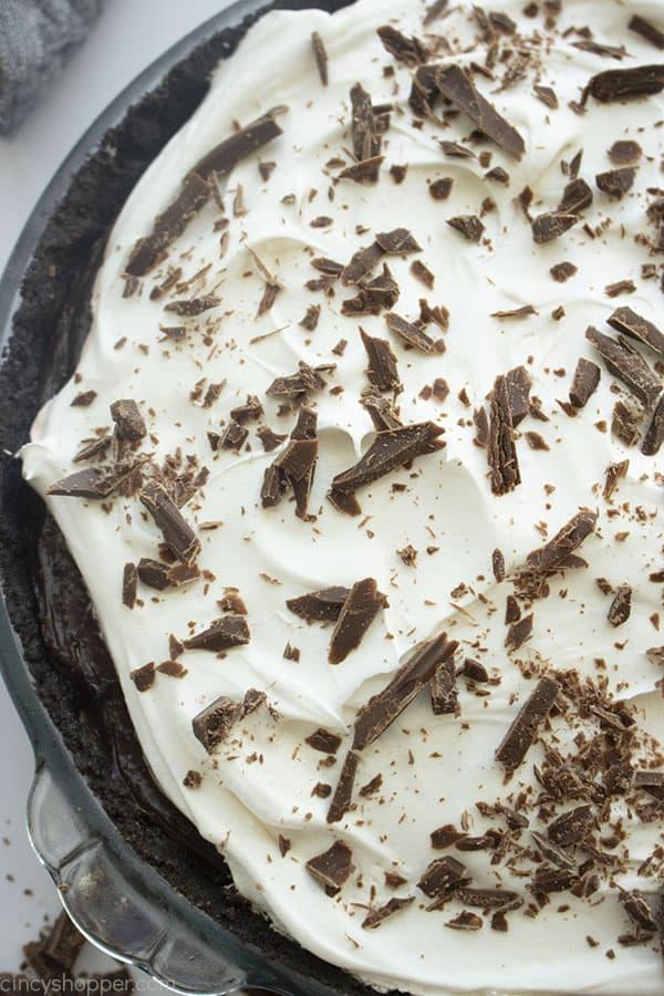 Overhead of chocolate cream pie