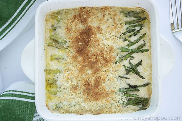 Crispy topping broiled on asparagus casserole