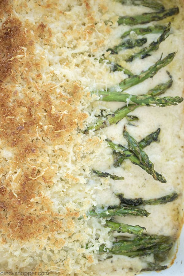 Closeup of cheesy asparagus casserole