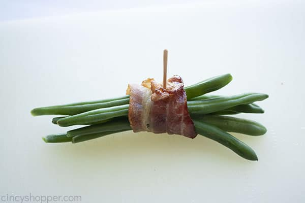 Bacon wrapped bundle of green beans with toothpick