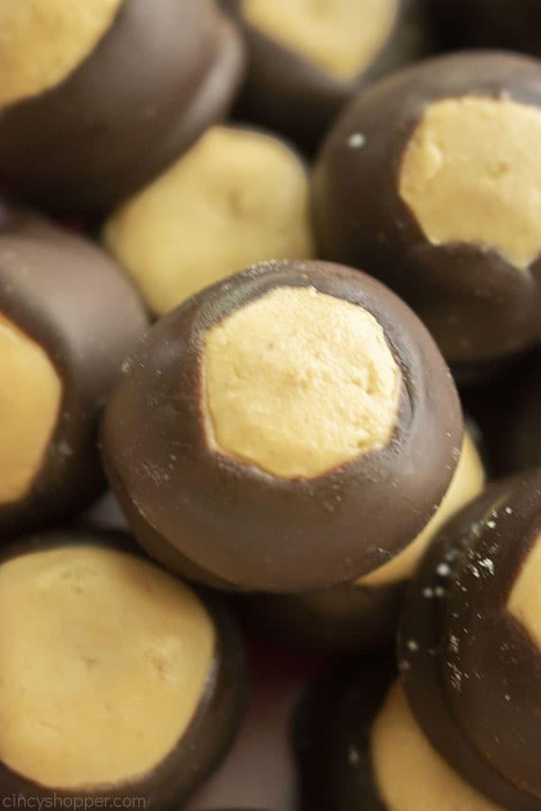 Peanut Butter Buckeyes closeup