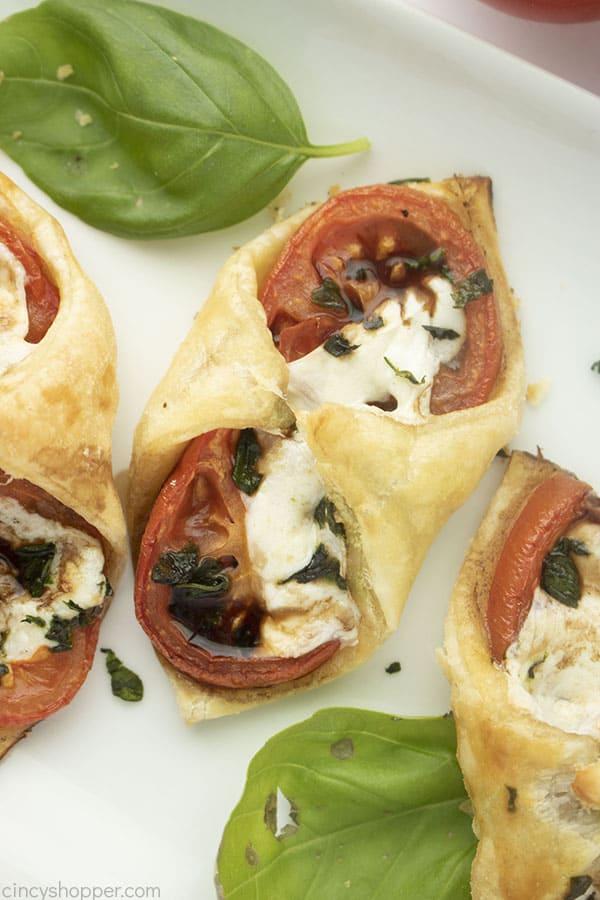 Caprese Pastry Bites appetizer on aplatter