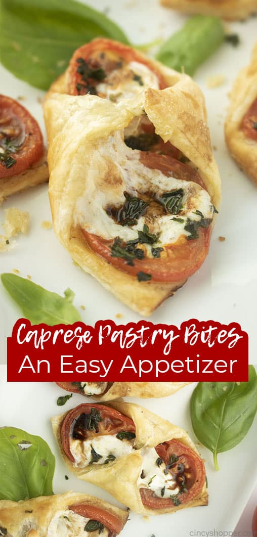 Long pin collage text banner Caprese Pastry Bites An Easy Appetizer