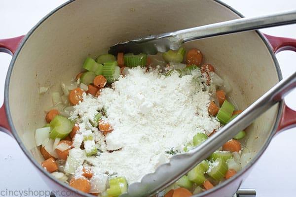 Flour added to veggies