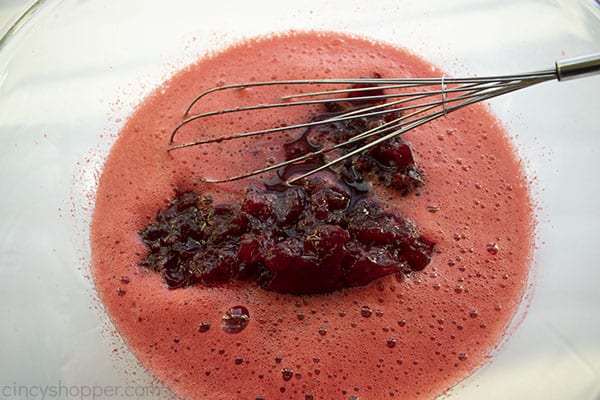 Cranberry sauce added to Jello