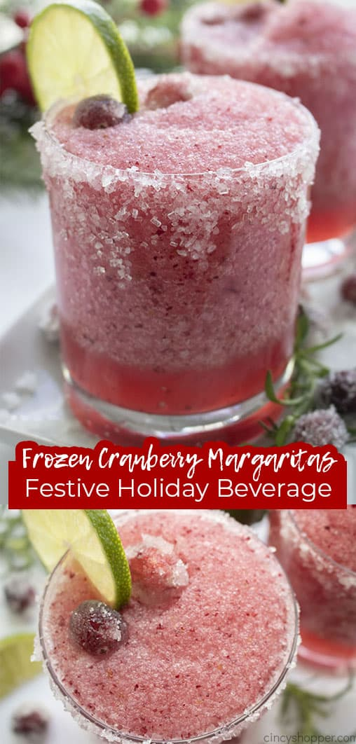 Long pin collage with text banner Frozen Cranberry Margaritas Festive Holiday Beverage