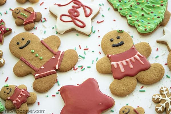Decorated royal icing gingerbread cookies