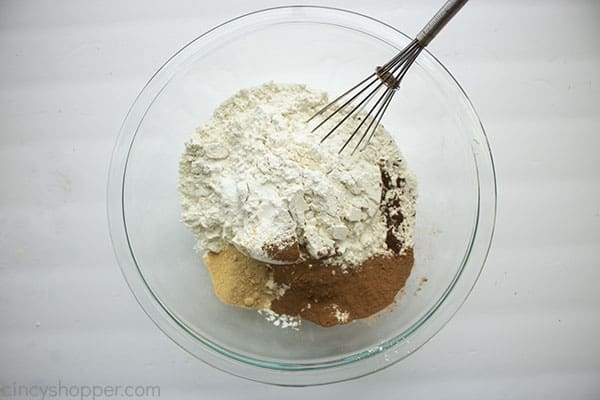 Dry ingredients for gingerbread cookie dough