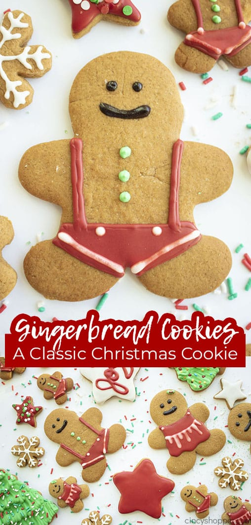 Long pin collage with text banner Gingerbread Cookies A Classic Christmas Cookie