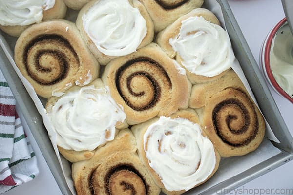 Fresh baked cinnamon rolls with frosting