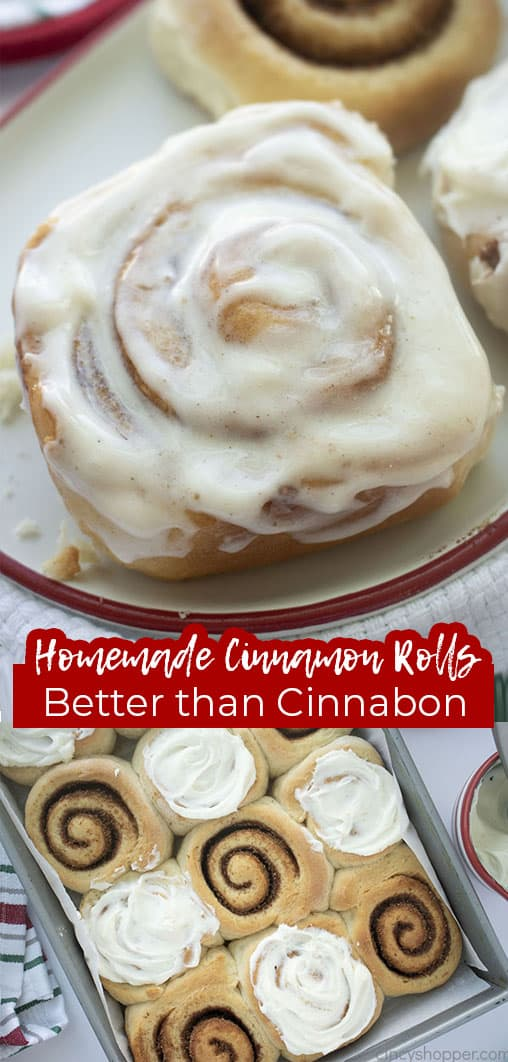 Long pin collage with text Homemade Cinnamon Rolls Better than Cinnabon
