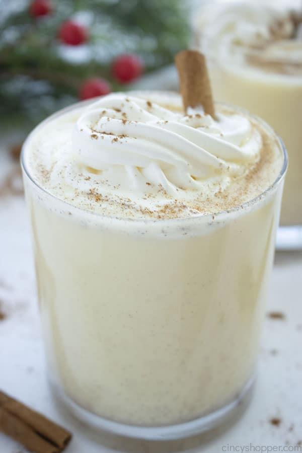 Homemade Eggnog in a glass